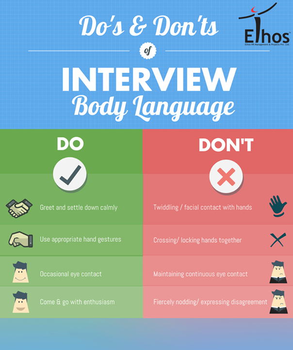 Here's a quick guideline of Do's & Don'ts of interview body language.  #EthosIndia #Recruitment #Ahmedabad
