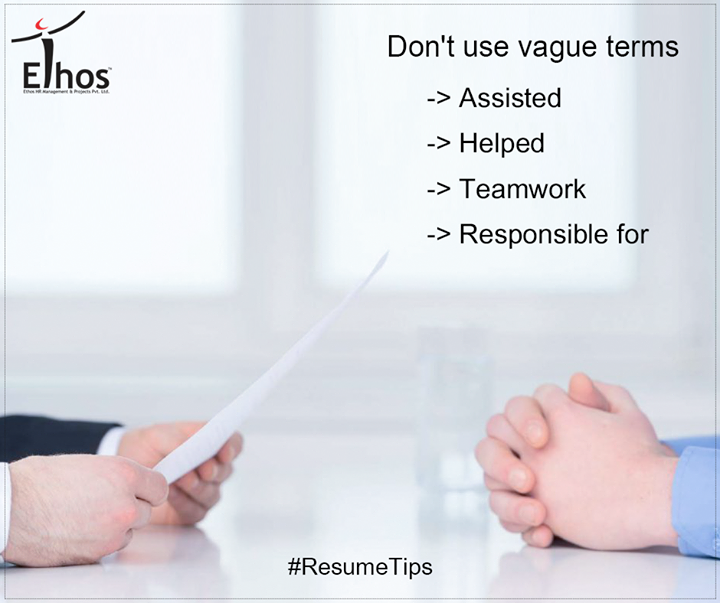 Ethos India,  ResumeTips, WorkCulture, EthosHR, Recruitment, Jobs, Change