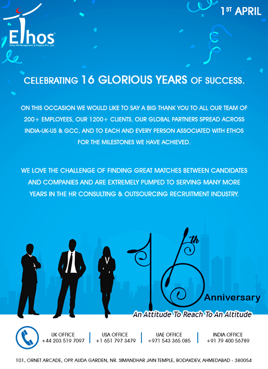 A big #thankyou to all who have been a part of our journey so far.  #Sweet16 #EthosHR #Ahmedabad #India #USA #UAE #UK