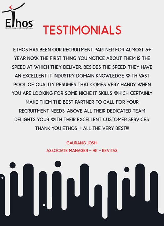 Ethos India,  Testimonials, EthosIndia, Ahmedabad, EthosHR, Recruitment