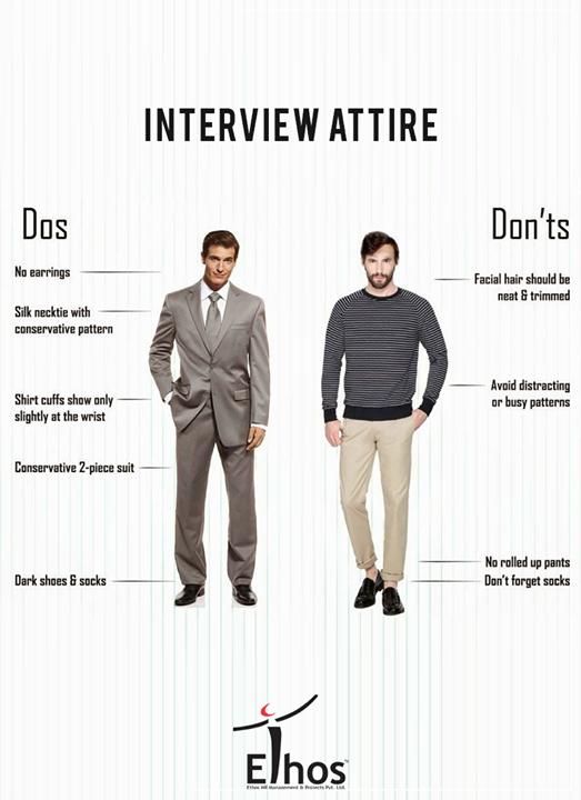 Do's and Don'ts for Men's Interview Attire!  #InterviewAttire #EthosIndia #Ahmedabad #EthosHR #Recruitment