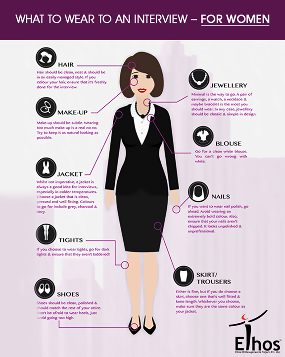 When attending a job interview, your appearance is the key. How you are presented could play a big role in whether you get the job or whether you don't. In this info graphic we look at what a woman should wear to a job interview  #InterviewTips #EthosIndia #Ahmedabad #EthosHR #Recruitment #Jobs