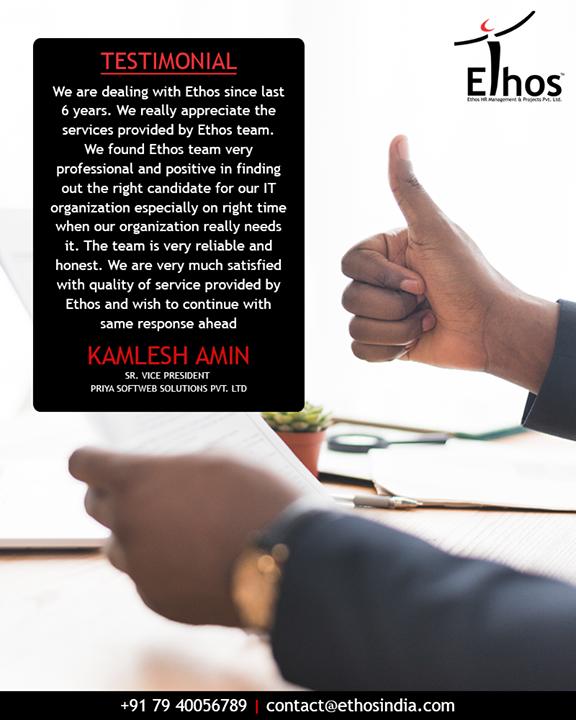 Ethos India,  Testimonial, EthosIndia, Ahmedabad, EthosHR, Recruitment