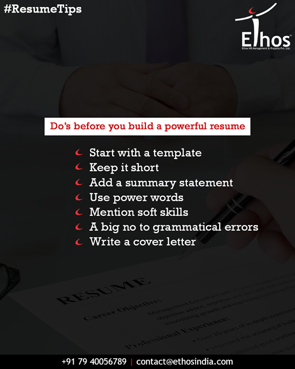 Getting a job is indeed tough, so better to follow few things and steps then only you will be able to acquire your desired job.   #Resume #ResumeTips #EthosIndia #Ahmedabad #EthosHR #Recruitment #CareerGuide #India