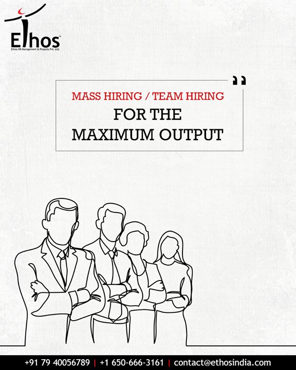 Mass Hiring / Team hiring refers to the recruitment of a group of people (known to each other at times) so as to get the best and the most optimum results for the clients. We have expertise in Mass Hiring / Team Hiring within a speculated time and we take these assignments on a specific & reasonable term unlike general requisitions.  #MassHiring #TeamHiring #EthosIndia #Ahmedabad #EthosHR #Recruitment #CareerGuide #India