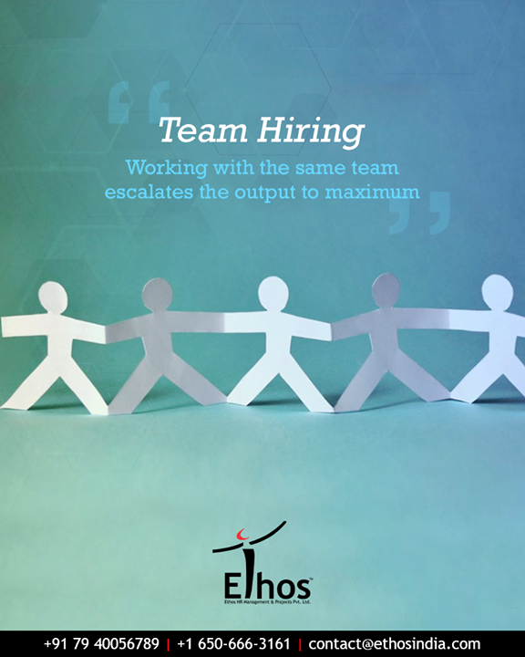 Hiring the entire team together works in favor of the recruiter as the colleague's cum friends lead to maximum output.  #TeamHiring #EscalaterOutput #CareerOpportunity #AccurateCareerOption #EthosIndia #Ahmedabad #EthosHR #Recruitment #CareerGuide #India