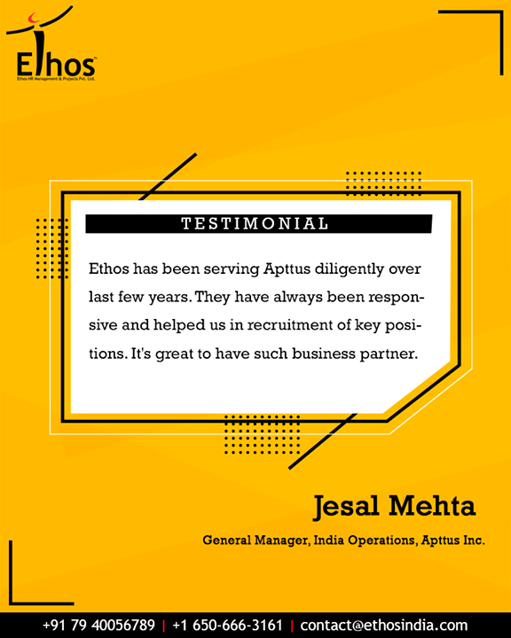 Thanks a lot for the fantastic review! We are pleased to hear from you.  #EthosIndia #Ahmedabad #EthosHR #Recruitment #CareerGuide #India