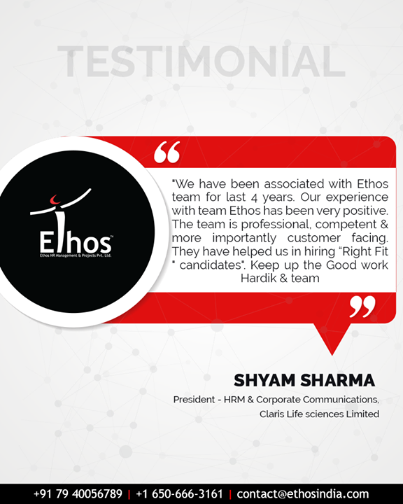 Such motivating words keep us going! Thank you for your valuable words, sir!   #UploadYourResume #EthosIndia #Ahmedabad #EthosHR #Recruitment #CareerGuide #India