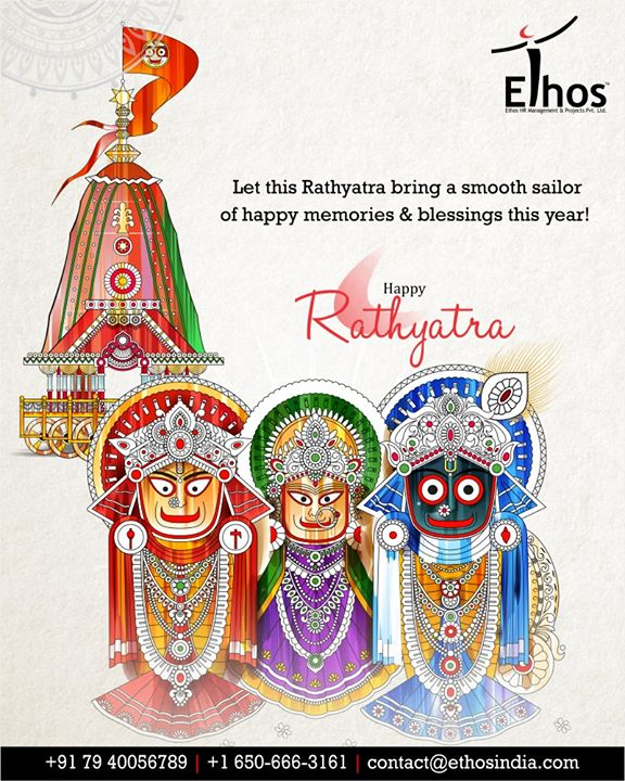 Let this Rathyatra bring a smooth sailor of happy memories & blessings this year!  #RathYatra2019 #RathYatra #LordJagannath #FestivalOfChariots #Spirituality #EthosIndia #Ahmedabad #EthosHR #Recruitment #CareerGuide #India