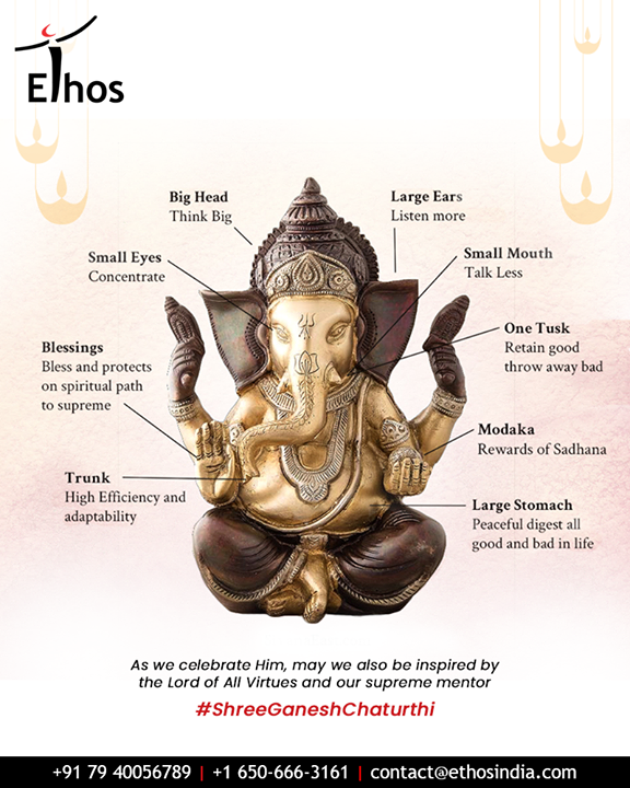 As we celebrate Him, may we also be inspired by the Lord of All Virtues and our supreme mentor.  #GaneshChaturthi2019 #GanpatiBappaMorya #HappyGaneshChaturthi #Ganesha #GaneshChaturthi #EthosIndia #Ahmedabad #EthosHR #Recruitment #CareerGuide #India