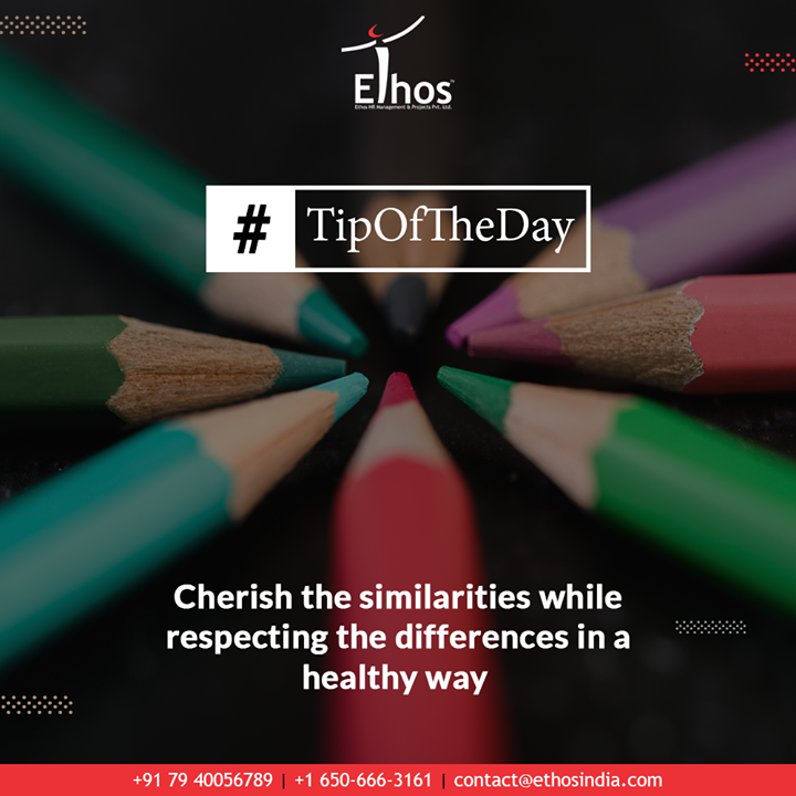 No two human brains are being wired in the exact similar way; so if you wish to emerge as a great team player then you must cherish the similarities while respecting differences with your team-mates in a healthy way.  #TOTD #Teamwork #TipOfTheDay #ExpertCareerGuide #CareerOptions #CareerGrowth #EthosIndia #Ahmedabad #EthosHR #Recruitment #CareerGuide #India
