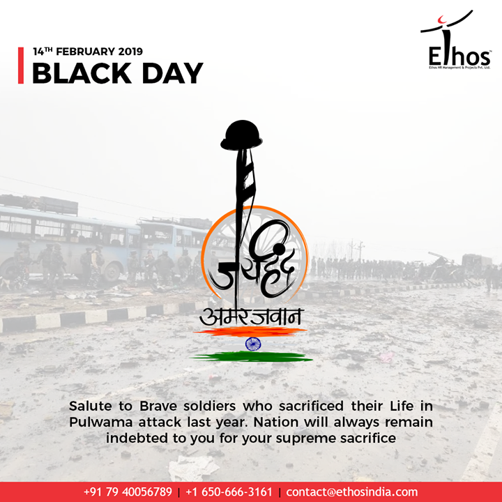 Salute to brave soldiers who sacrificed their life in pulwama attack last year. Nation will always remain indebted to you for your supreme sacrifice.  #PulwamaAttack #RIP #PulwamaTerrorAttack #Pulwama #RememberingPulwama #EthosHR #Recruitment #CareerGuide #India