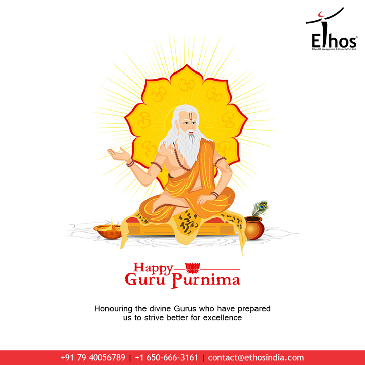 Honouring the divine Gurus who have prepared us to strive better for excellence.  #GuruPurnima #GuruPurnima2020 #गुरुपुर्णिमा #IndianFestival #EthosIndia #Ahmedabad #EthosHR #Recruitment #CareerGuide #India