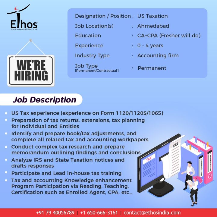 Hirings!  #USTaxExperience #USTaxation #StateTaxationNotices #Jobs #EthosIndia #Ahmedabad #EthosHR #Recruitment #CareerGuide #Ahmedabad #India