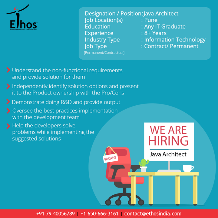 Ethos India,  Jobs, JavaArchitect, EthosIndia, Ahmedabad, EthosHR, Recruitment, CareerGuide, India