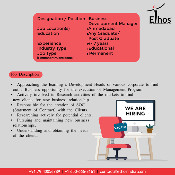 Ethos India,  Jobs, JobDescription, EthosIndia, Ahmedabad, EthosHR, Recruitment, CareerGuide, India