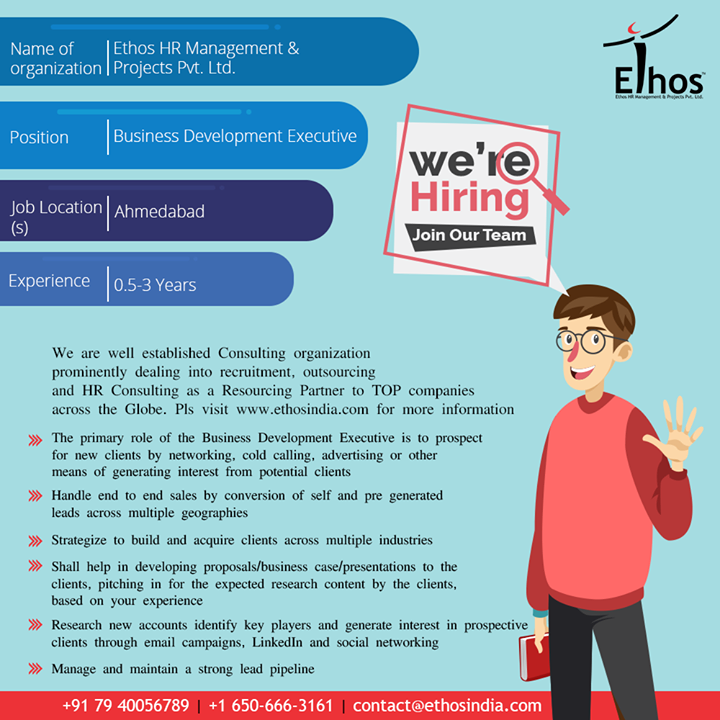 Hirings!  #Jobs #EthosIndia #Ahmedabad #EthosHR #Recruitment #CareerGuide #India
