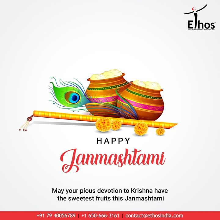May your pious devotion to Krishna have the sweetest fruits this Janmashtami  #HappyJanmashtami #KrishnaJanmashtami2020 #Janmashtami2020 #LordKrishna #Janmashtami #EthosIndia #Ahmedabad #EthosHR #Recruitment #CareerGuide #India