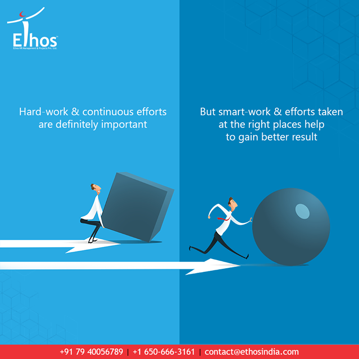 Hard-work & continuous efforts are definitely important to achieve success. But smart-work & efforts taken at the right places help you to gain better and sooner results.  At #EthosIndia, we help the youngsters to pair up their career dreams with smart planning and strategy.   #WeCareForYourCareer #WhatMakesUsStandOut #OurServices #CareerOpportunity #EthosIndia #Ahmedabad #EthosHR #Recruitment #CareerGuide #India