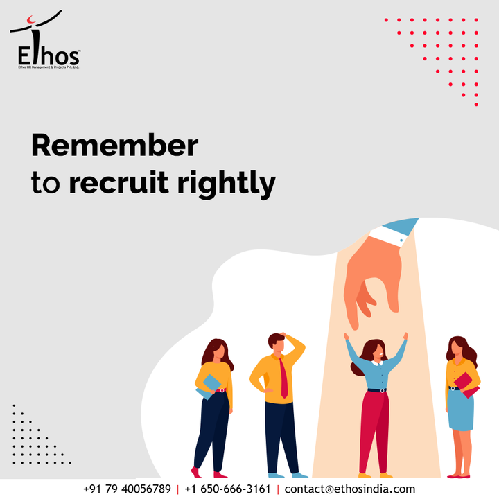 When it comes to the selection of new employees, understand that no compromise can be made. Remember to recruit the right employees rightly with Ethos India.  #wednesdaywisdom #RecruitRight #EmployeeHiring #CareerCounselling #OurServices #CareerOpportunity #EthosIndia #Ahmedabad #EthosHR #Ethos #HR #Recruitment #CareerGuide