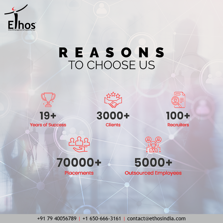 We, at Ethos, work alongside businesses as well as many other organizations, analyze their requirements and then provide customized services across talent acquisition, outsourcing, training and consulting for both on-shore and off-shore requirements.   #JobRecruitment #EmployeeHiring #CareerCounselling #CareerGuidance #OurServices #CareerOpportunity #EthosIndia #Ahmedabad #EthosHR #Ethos #HR #Recruitment #CareerGuide #India