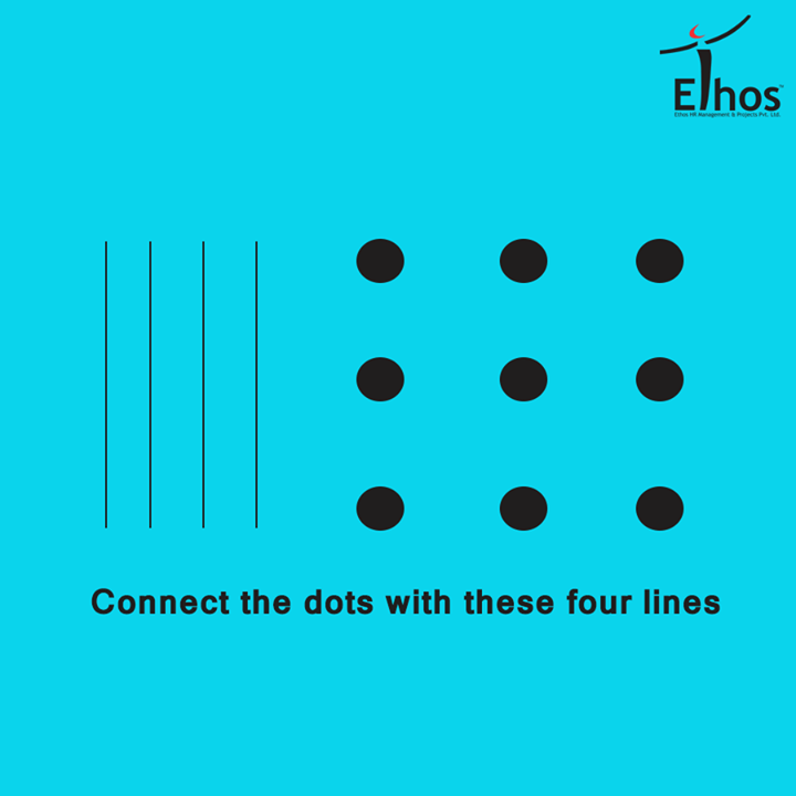 Can you connect these nine dots with just four lines?  #BrainGame #TestyourBrain #WeekendFun #EthosIndia #Ahmedabad
