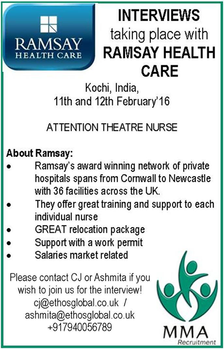 Ramsay Health Care, an award winning network of private hospitals is conducting interview in Kochi, India on 11th and 12th February. Interested and eligible candidates are requested to contact to below given address.  #HealthCare #EthosIndia #EthosGlobal #OutSourcing #Recruitment #TalentSourcing
