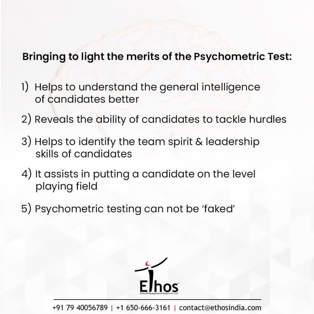 Psychometric tests make the process of recruitment fair and unbiased. They can help an organization to maintain their standards by getting the personality traits and aptitude of the candidates checked before hiring them.  Ethos India brings to light the merits the of Psychometric Test: - Helps to understand the general intelligence of candidates better - Reveals the ability of candidates to tackle hurdles - Helps to identify the team spirit & leadership skills of candidates - It assists in putting a candidate on the level playing field   - Psychometric testing can not be 'faked'  #CareerCounselling #OurServices #CareerOpportunity #EthosIndia #Ahmedabad #EthosHR #Ethos #HR #Recruitment #CareerGuide #India