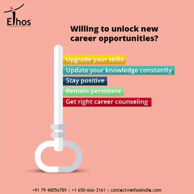 Are you trying to uncover the new avenues of career opportunities?  If yes then take a look at the things that you must do:  - Upgrade your skills - Update your knowledge constantly - Stay positive and beat the hopelessness - Remain persistent and consistent - Get the right kind of career counseling  #ThingsWeDo #CareForYourCareer #OurServices #CareerOpportunity #EthosIndia #Ahmedabad #EthosHR #Recruitment #CareerGuide #India