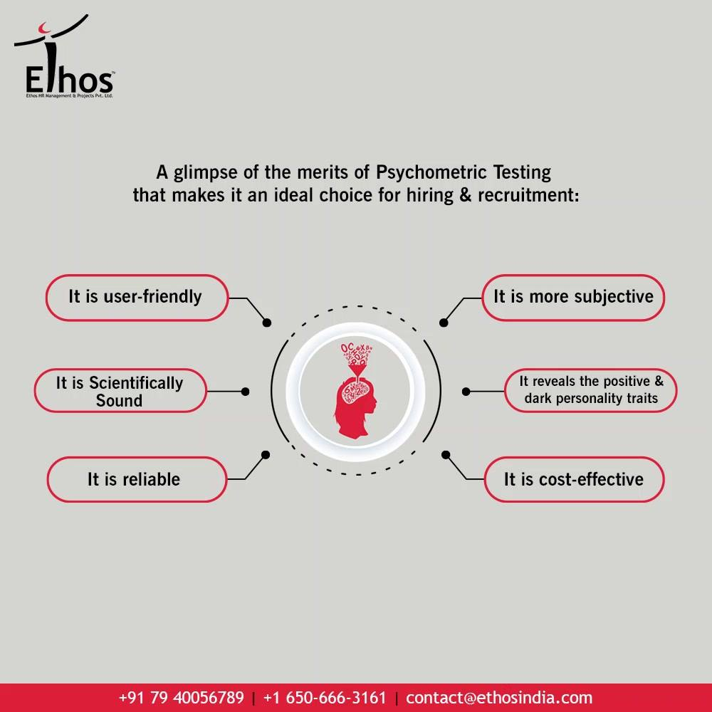 If you are yet to be convinced about the usefulness of Psychometric Testing then take a look at its advantages & merits that make it an ideal choice for hiring & recruitment:  - It is user-friendly - It is Scientifically sound - It is reliable - It is more subjective - It reveals the positive & dark personality traits - It is cost-effective  Get in touch with Ethos India for your further related queries regarding #PsychometricTesting.  #CareerCounselling #OurServices #CareerOpportunity #EthosIndia #Ahmedabad #EthosHR #Ethos #HR #Recruitment #CareerGuide #India