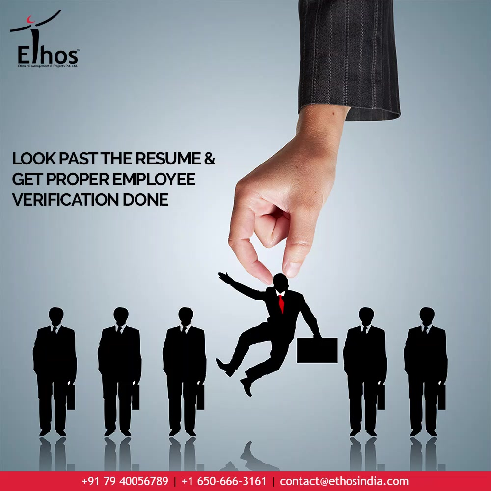 When it comes to the process of recruitment and hiring, you must go beyond simply trusting your instincts.   Create an effective employee search & selection process. Look past the resume & get proper employee verification done before hiring your employees.   #EmployeeBackgroundVerification #JobRecruitment #EmployeeHiring #CareerCounselling #OurServices #CareerOpportunity #EthosIndia #Ahmedabad #EthosHR #Ethos #HR #Recruitment #CareerGuide #India